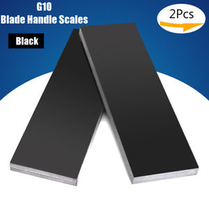 "Alcoa Prime 2Pcs 6.3"" x 2"" G10 Laminate Slabs Black Blade Handle Scales Carved 6mm Thick"