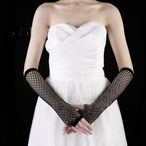 Party Neon Costume For Woman Dance Gothic Rock Gloves Fishnet Long Fingerless