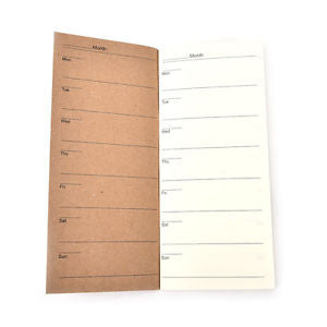 Cute Kraft Paper Cover Weekly Planner Notebook With Lined Paper For Kids LX
