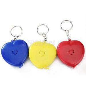 "Alcoa Prime 1pc Heart Shape Retractable Tape Measure Sewing Tailor Ruler 150cm 60"" Key Ring"