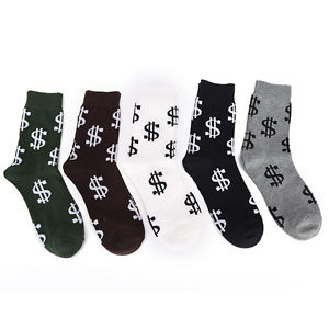 1pair Men's Pair Dollar Signs Money Design Cotton Socks dollar design socks 5Ii