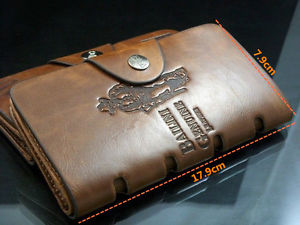 New Men's Leather Long Wallet Pockets ID Card Clutch Cente Bifold Purse BROWN
