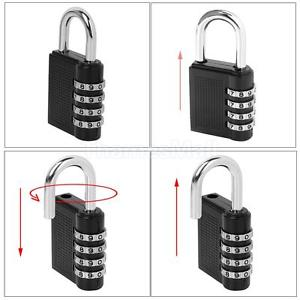 Black 4-Dial Combination Padlock Suitcase Luggage Password Lock Resettable