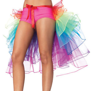 Rainbow Neon Tutu Skirt Rave Party Dance Half Bustle Burlesque Sexy Clubwear BB