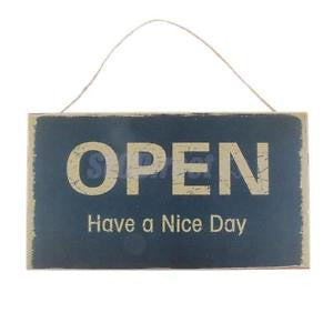 Alcoa Prime OPEN HAVE A NICE Day Sign Resuable Thick Wood Door Knobs Hanging Sign Plaque