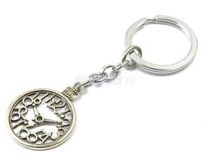 Alcoa Prime Silver Metal Pocket Watch Keychain Bag Charms Pendants Keyring Women Gifts