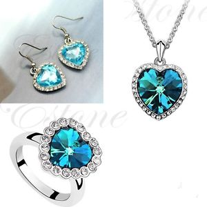 Titanic Heart of Ocean Crystal Rhinestone Necklace Ring Earring Jewelry Set Blue