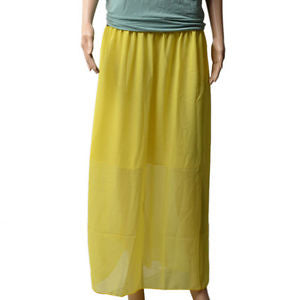 Alcoa Prime Lady Women's Yellow Double Layer Chiffon Long Maxi Dress Elastic Waist Skirt New