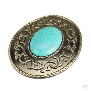 Alcoa Prime 2x Boho Hippy Western Tang Flower Belt Buckle with Faux Turquoise Center Stone