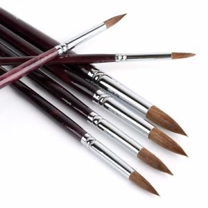 Alcoa Prime 6 Pcs/Set Sable Hair Round Artist Paints Brush Craft For Watercolor Oil Acrylic