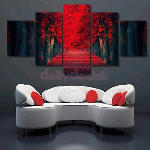 Alcoa Prime 5x Canvas Decorative Wall Painting Red Forrest Print Pictures 30x40/60/80cm