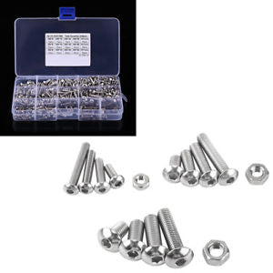 440Pcs M3 M4 M5 304 Stainless Steel Hex Screws Nuts Assortment Set w/Box Exotic