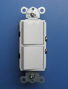 (2) Decora 15Amp Single Pole Dual 2-function Rocker double switch -White 2Pack
