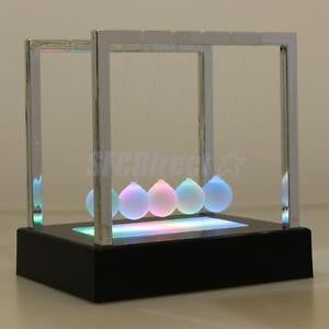 Alcoa Prime Newtons Cradle LED Light up Science Toy Home Decor Education Desk Toy Black