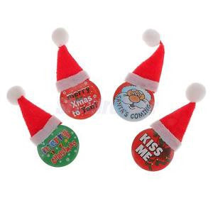 Alcoa Prime 4pcs Lovely Santa Claus Christmas Brooch Pin Badge with Xmas Hat Jewelry
