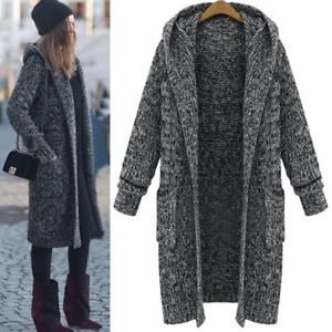 Alcoa Prime Plus Women Loose Long Sleeve Knitted Hooded Sweater Cardigan Outwear Coat Jacket
