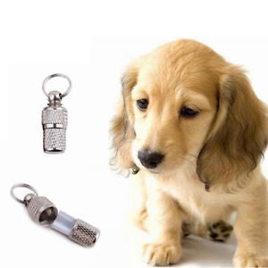 2x Anti-Lost Pet Dog Cat ID Stainless Steel Tag Name Address Barrel Tube EFUS