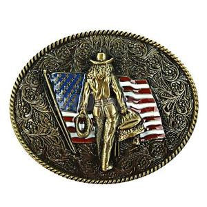 Alcoa Prime Antique Engraved US Flag with Bronze Knight Belt Buckle Western Cowboy Style