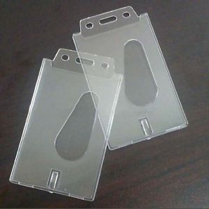 Vertical Transparent Hard Plastic Business Credit Card ID Badge Holder 2x  TO