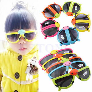 2015 Children Boys Girls Anti-UV Eyeglasses Cartoon Ladybug Folding Sunglasses
