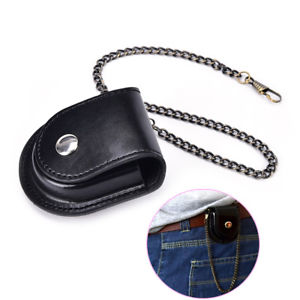 1Pc PU Leather Pocket Watch Holder Storage Case Coin Purse Pouch Bag With Chain
