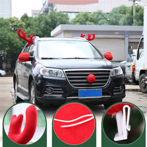 1 Set Christmas Decoration Red Deer Antlers Nose Car Decor Ornaments Xmas Gift
