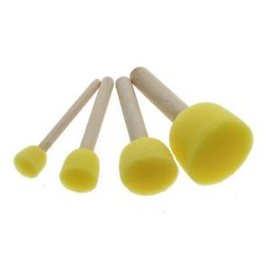 4pcs Yellow Child Painting Sponge Foam Brushes Wooden Handle Drawing Brush Tool
