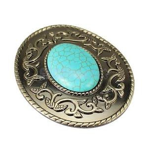 Alcoa Prime Boho Hippy Western Tang Flower Belt Buckle with Faux Turquoise Center Stone