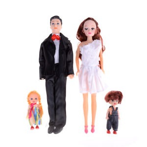4pcs Fashion Happiness Doll MOM & DAD Family Barbie Toys Set Best Gift Toy#