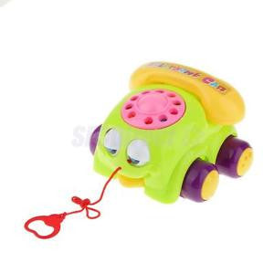Alcoa Prime Green Baby Toddler Pull Along Telephone Car Toy in Vintage Style Funny Toys
