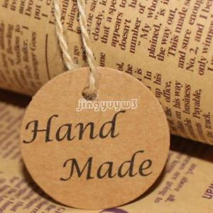 500PCs Kraft Label Tag Word Hand Made Clothes Jewelry Price Tags 40mm New