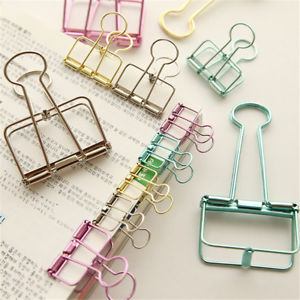 Unique Solid Color Hollow Out Metal Binder Clips Notes Letter Paper Clip TB