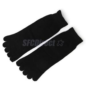 Alcoa Prime Pair Footful Men's Women's Sports Yoga Casual Five Finger 5 Toes Socks Black