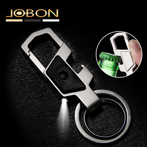 Mens Fashion Multifunction LED Metal Dual Rings Car Keyring Keychain Opener
