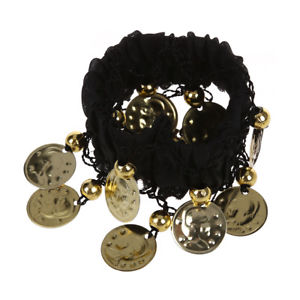 Alcoa Prime 1 pair Bellydance Wrist Cuff Bracelets with 18 Golden Coins N1X9