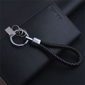 Mens Fashion Braided Leather Keychain Car Key Chain Ring Keyfob Keyring Gift