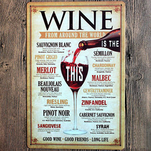 """Good Wine From Around World"" Metal Tin Sign HOME Beer BAR Club Decors Wall Art"