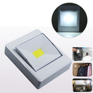 Wireless 3W COB LED Night Light Lamp Switch Battery Operated With Magnetic White