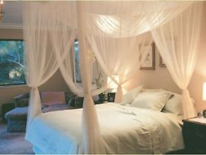 Alcoa Prime 4 Corner Post Bed Canopy Mosquito Net Queen King Size Netting Bedding White #M