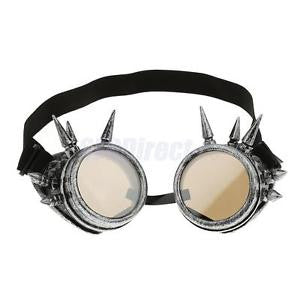 Alcoa Prime Steampunk Spiked Goggles Cyber Punk Cyber Gothic Rave Cosplay Antique Silver