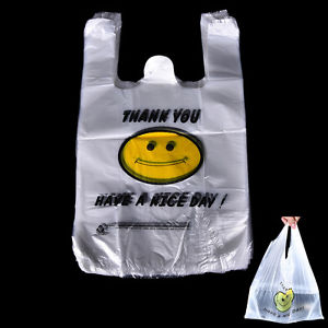 100pcs Carry Out Retail Supermarket Grocery White Plastic Shopping Bag @eC