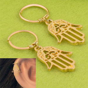 New Hamsa Cartilage Earring Hoop Tiny Fatima Hand Cartilage Piercing Earrings QW