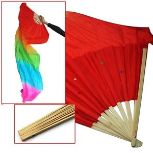 Alcoa Prime 1.8M Hand Made Belly Dance Dancing SiCP Bamboo Fans Art Colorful N3