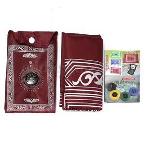 Muslim Travel Prayer Rug With Pouch Islamic Portable Pocket Mat Musallah Red