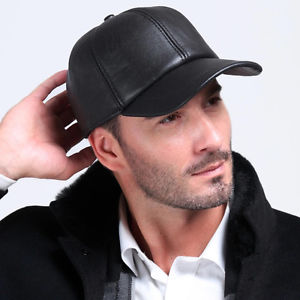 Alcoa Prime Men's Genuine Leather Black Adjustable Casual Sport Baseball Golf Cap Hat