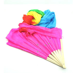 Colorful Multicolor Hand Made Belly Dance  Silk Bamboo Long Fan Veils 1.8m BBUS