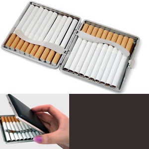 Classic Leather & Alloy Cigarette Case Box Metal Holder Container for LighterTYY