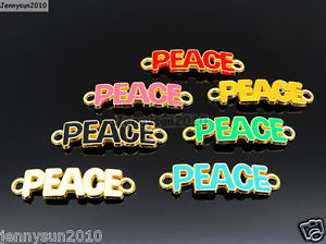 Alcoa Prime 20Pcs Colorful Smooth Metal Peace Wording Bracelet Connector Charm Beads Mixed