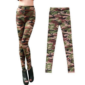Alcoa Prime Women Leggings Camouflage Army Printed Stretch Pants Skinny Trousers Green GYTH