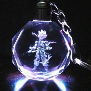 Anime Dragon Ball Z Son LED Light Crystal Keychain Key Chain